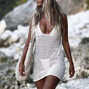Mila Crochet Mini White Beach Cotton Sexy Cover Up